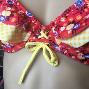 Bikini Underwire Top XL Red Floral Yellow Gingham